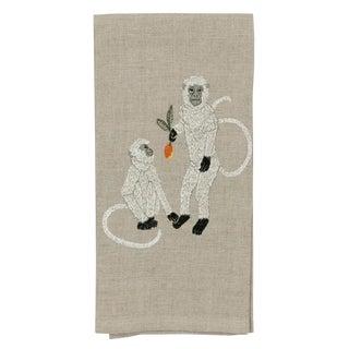 2010s French Ecru Linen Monkeys With Mango Tea Towel