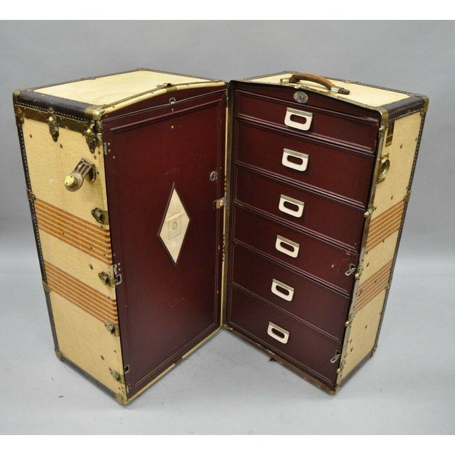 Traditional 1930s Traditional Oshkosh the Chief Wardrobe Steamer Trunk For Sale - Image 3 of 13