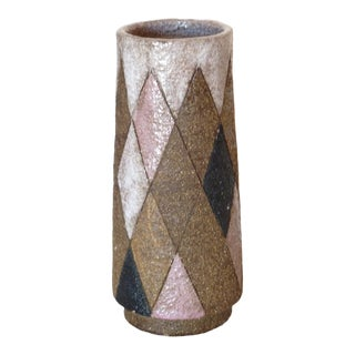 1950s Stoneware Harlequin Vase For Sale