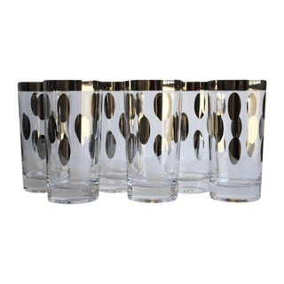Mid-Century Silver Dot Glasses - Set of 6
