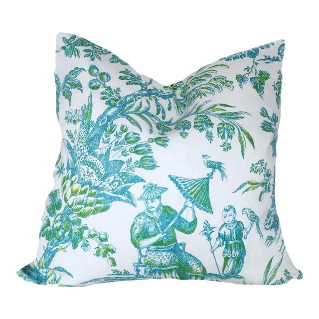 Custom Aqua & Lime Chinoiserie Toile Pillow Cover For Sale