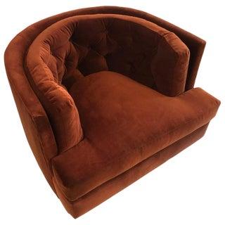 Burnt Orange Tufted Swivel Chair by Milo Baughman For Sale