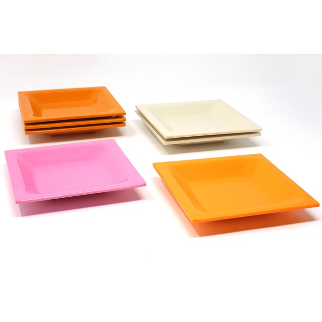 Plastic Vintage Square Melamine Dishes - Set of 7 For Sale - Image 7 of 11