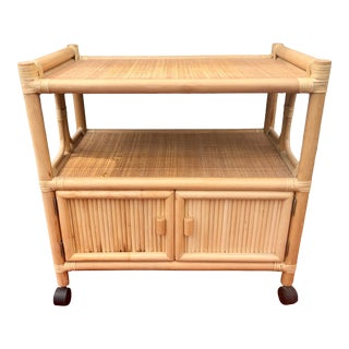 Mid-Century Natural Bamboo Rattan and Woven Cane Rolling Bar Cart For Sale