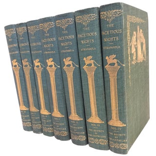 Late 19th Century the Facetious Nights and the Pecorone Decorative Books- Set of 7 For Sale