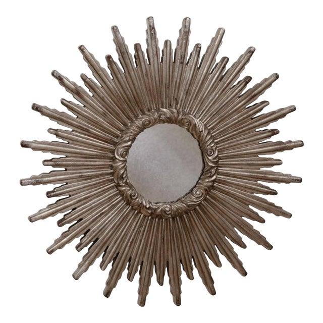 Large Silver Sunburst Mirror For Sale