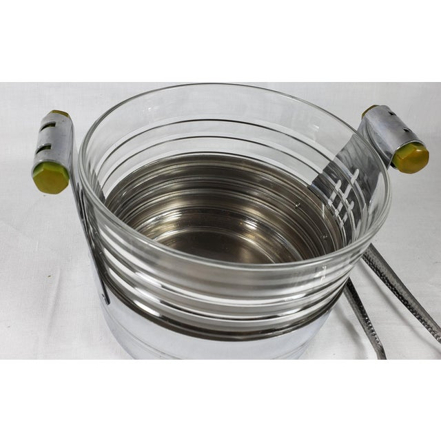Art Deco Art Deco Chrome Ice Bucket With Ribbed Glass Insert and Tongs For Sale - Image 3 of 9