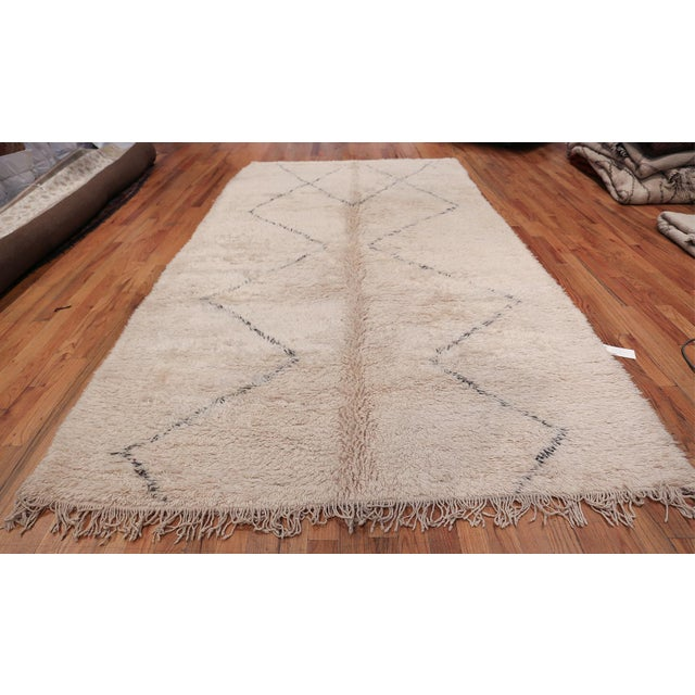Magnificent vintage room size ivory Moroccan rug, country of origin / rug type: Morocco, circa mid–20th century. Moroccan...