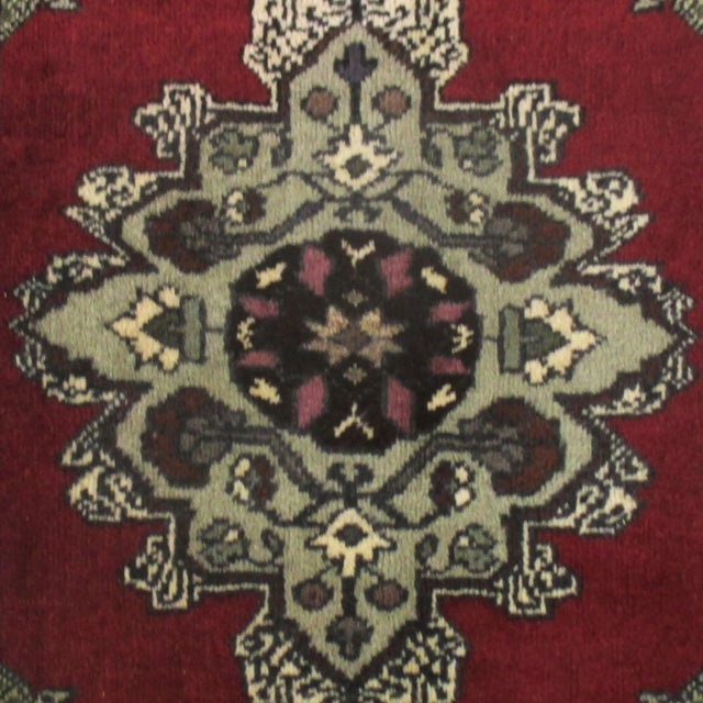 Turkish Yastik | 2 x 3 Hand-knotted Carpet This chic vintage carpet with a floral medallion features a color palette of...