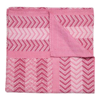Chevron Hand Stitched Quilt, Twin-XL - Pink For Sale