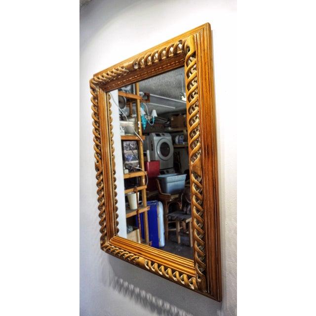 Vintage Mid-Century English Carved Walnut Barley Twist Mirror For Sale - Image 10 of 13