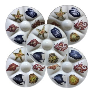 5 Vintage Italian Oyster Plates-Hand Painted For Sale