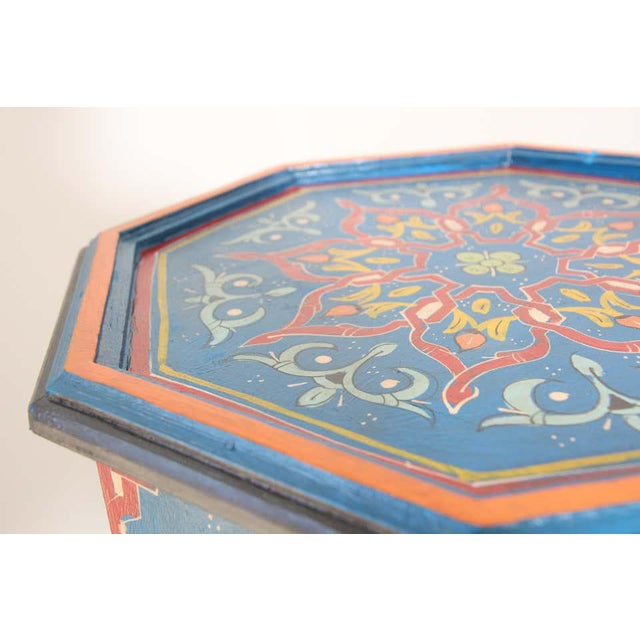 Moroccan Artist Hand Painted Blue Moroccan Pedestal Tables - a Pair For Sale - Image 4 of 13