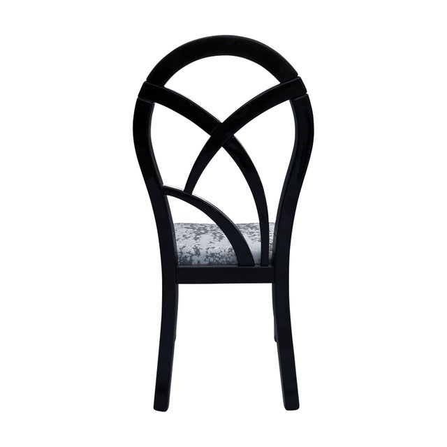 1980s 80's Italian Black Lacquer Art Deco Dining Chairs - Set of 4 For Sale - Image 5 of 7