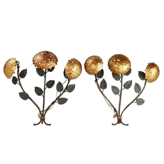 Pair of Florentine Brass and Iron Sconces For Sale