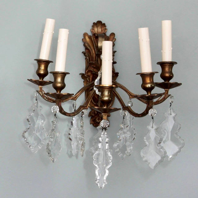 Pair of French 5 Light Bronze and Crystal Wall Sconces For Sale - Image 4 of 11