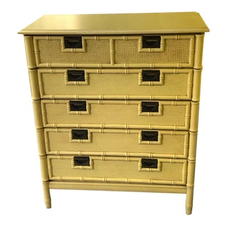 Stanley Yellow Faux Bamboo Dresser For Sale