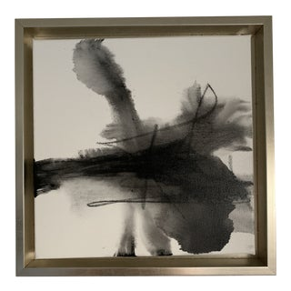 Abstract Small Black & White Painting, Framed For Sale