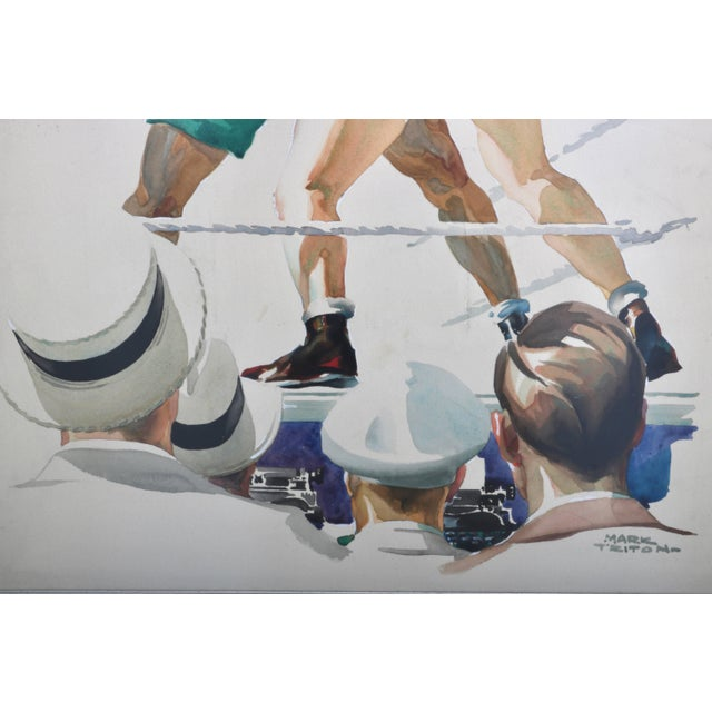 """Art Deco Watercolor of a Boxing Match Titled """"Ringside"""" For Sale - Image 3 of 8"""