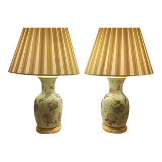 Floral Porcelain Ginger Jar Lamps - A Pair