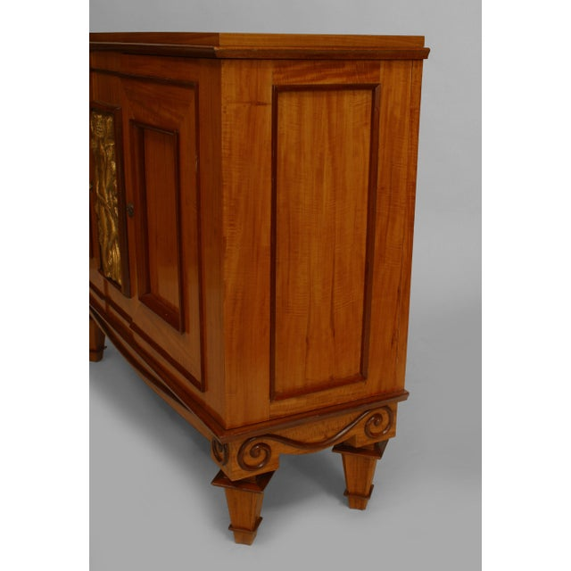 1930s French Art Deco Satinwood And Mahogany With Gilt Trim Door Commode For Sale - Image 5 of 7