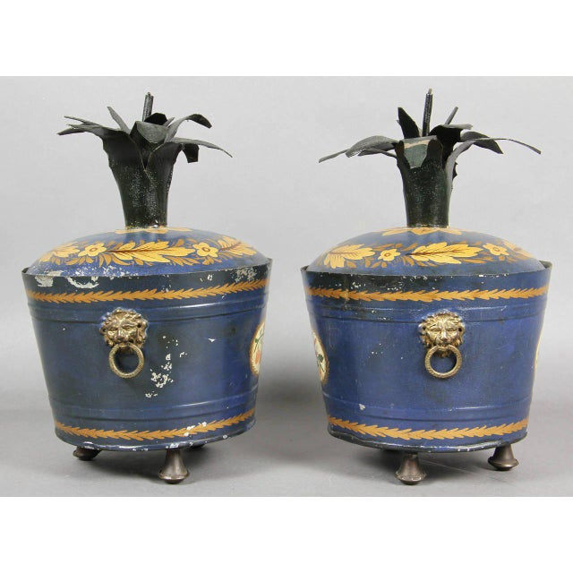 Mid 19th Century Pair of Swedish Tole Peinte Covered Barrels For Sale - Image 5 of 12