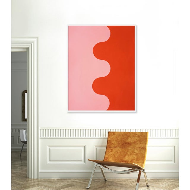 "Contemporary Large ""Hairpin Serpentine in Fire Coral & Soft Pink"" Print by Stephanie Henderson, 41"" X 51"" For Sale - Image 3 of 4"