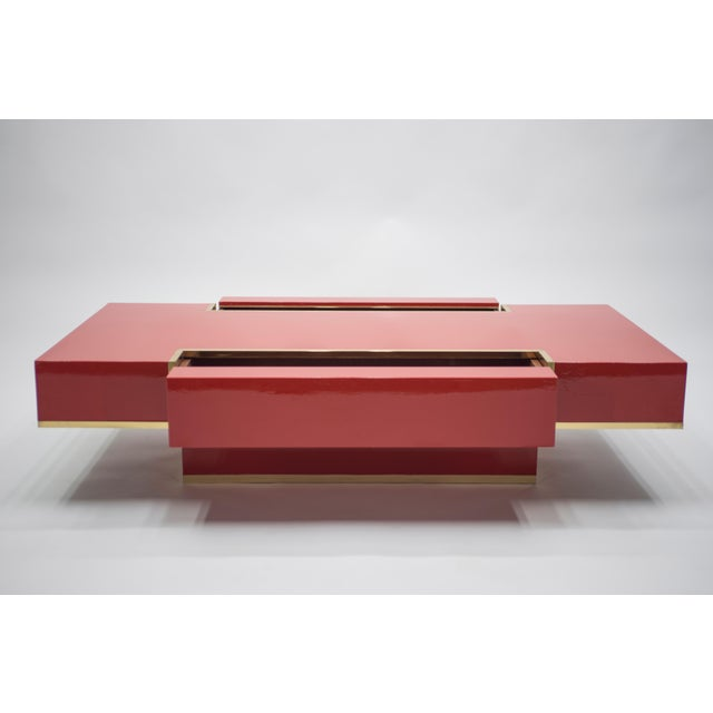 Mid-Century Modern Rare j.c. Mahey Red Lacquer and Brass Coffee Table, 1970s For Sale - Image 3 of 13