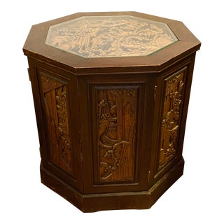 1940s Vintage Carved Asian Cabinet Table For Sale