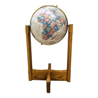 Vintage Replogle World Classics Series Oak and Brass Floor Globe For Sale