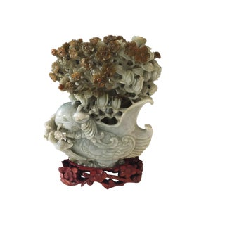 """Superb Chinese Jadeite Bird and Flower Sculpture on Stand 7"""" H For Sale"""