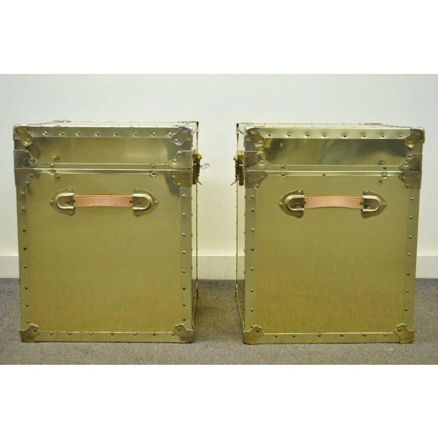 Animal Skin 1970s Hollywood Regency Brass Clad Trunks Chest Side Tables - a Pair For Sale - Image 7 of 11