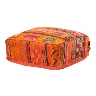 Vintage Moroccan Orange Pouf
