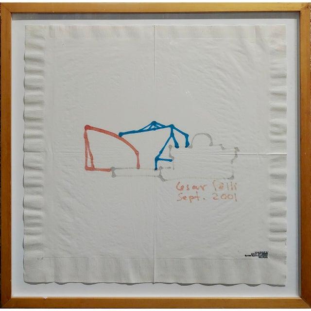 Cesar Pelli -Pacific Design Center- Famous Architect Napkin Sketch multicolor sharpie sketch on napkin depicting Los...