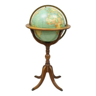 "Vintage Round McNally Terrestrial 16"" Lighted Floor Globe Floor Mount With Stand For Sale"