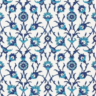 Sample - Schumacher X Martyn Lawrence Bullard Sultan's Trellis Wallpaper in Peacock For Sale