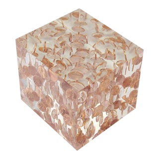 """Mid-Century Modern Cube Lucite """"One"""" Cent Coins Sculpture For Sale"""