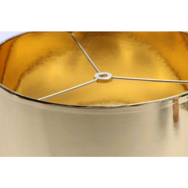 Gold Small High Gloss Gold Drum Lampshade For Sale - Image 8 of 9
