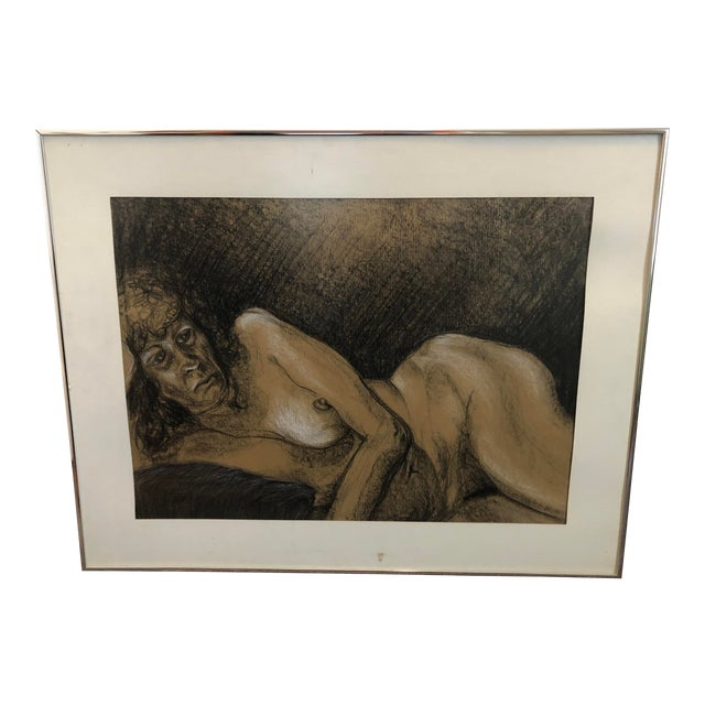 Mature woman nude portrait 1980s Figurative Nude Portrait Of Older Woman Pastel And Charcoal Sketch Framed Chairish