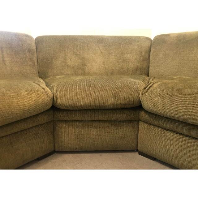 1980s Olive Green 3 Piece Sectional From 80s For Sale - Image 5 of 13