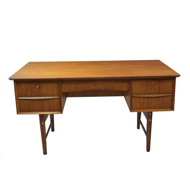 Danish Modern Dual Sided 5 Drawer Desk - Image 8 of 8