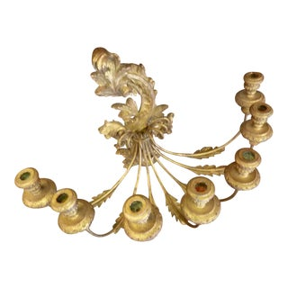 Gilded Candle Wall Sconce For Sale