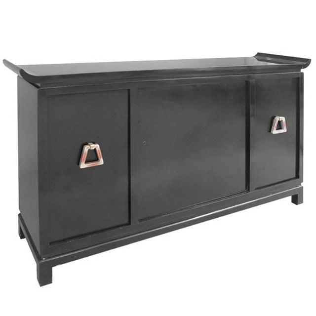 Wood Mid-Century Modern Pagoda Style Black Lacquer Bar Cabinet by James Mont For Sale - Image 7 of 7