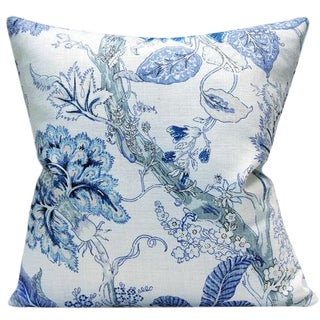 "Vecchio Spa Blue Floral Linen Decorative Pillow Cover 20"" x 20"" For Sale"