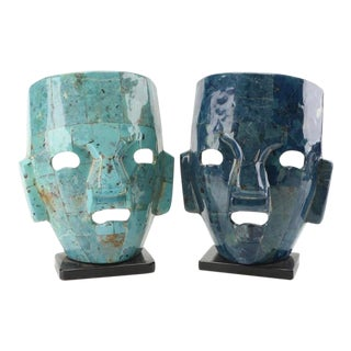Mexican Pottery Face Sculptures - a Pair For Sale