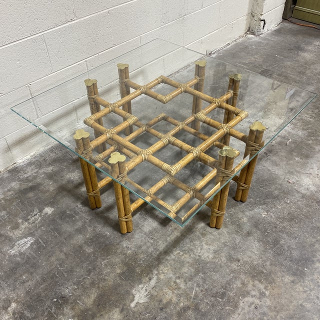 Boho Chic McGuire Bamboo Brass Glass Coffee Table For Sale - Image 3 of 12