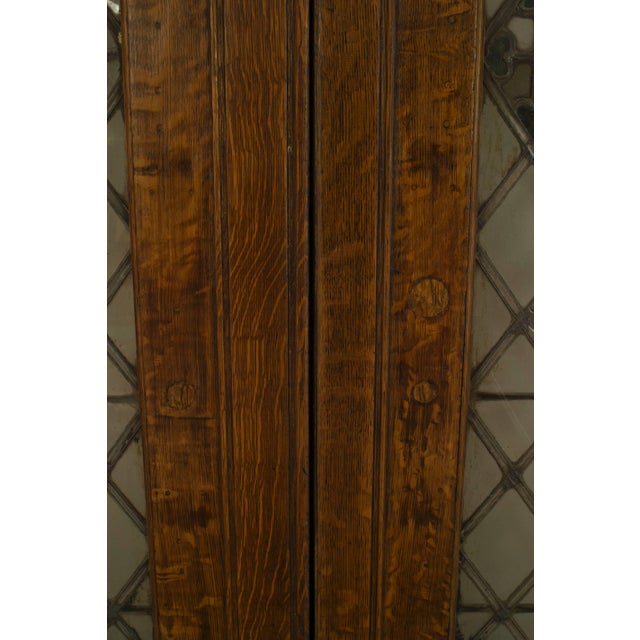 Large Pair of 19th C. American Leaded Glass Golden Oak Doors For Sale In New York - Image 6 of 9