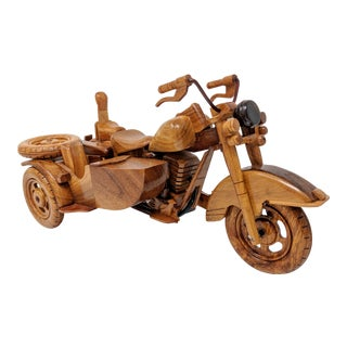 American Classical Handcrafted Wood Motorcycle With Sidecar Model For Sale