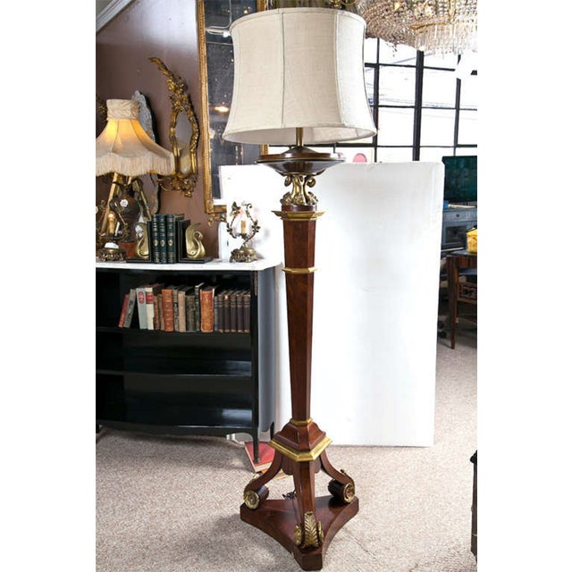 French Bronze Empire Style Mahogany Floor Lamp - Image 10 of 10