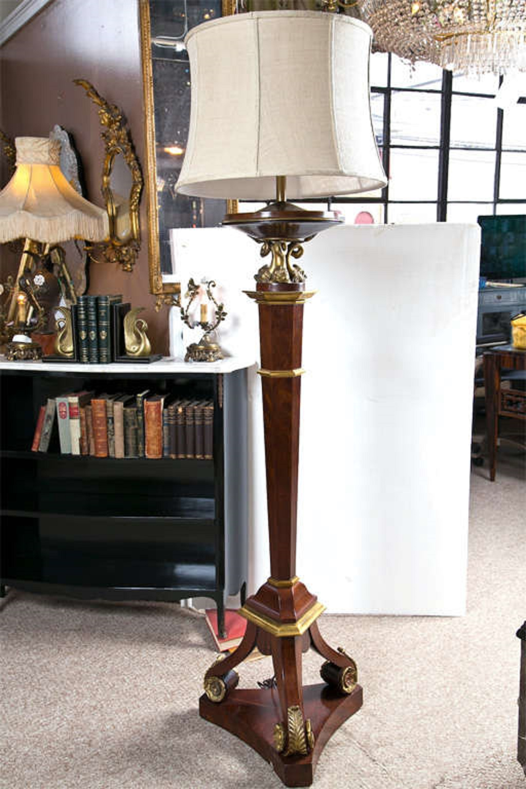 French Bronze Empire Style Mahogany Floor Lamp   Image 10 Of 10